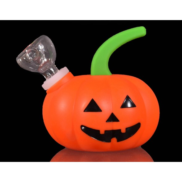 Silicone Pumpkin Mini Bong With Removable Glass Bowl