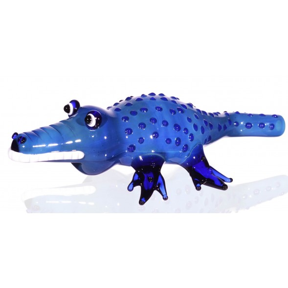 "The Gator - 6.5"" Translucent Alligator Hand Pipe - Blue"