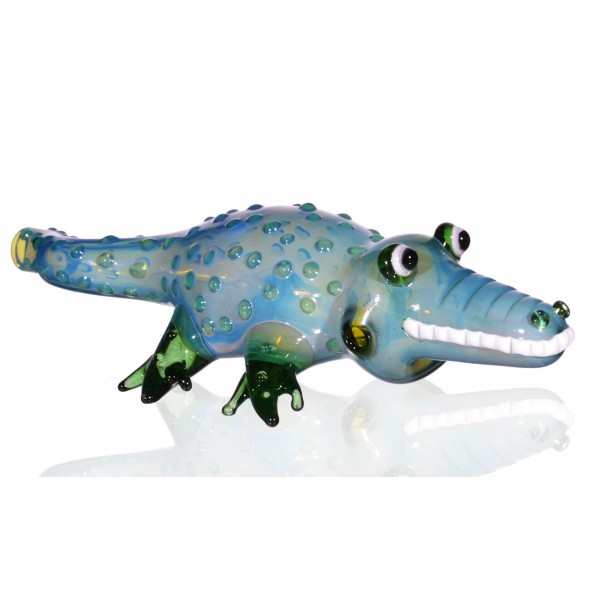 "The Gator - 6.5"" Translucent Alligator Hand Pipe-Green"