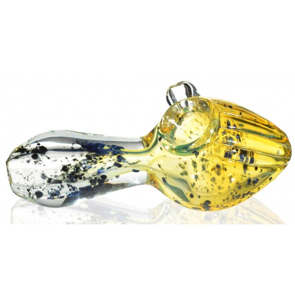"Golden Dream - 5"" Golden and Blue Pearl Hand Pipe - Fumed Color Changer"
