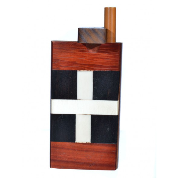 Fancy Wooden Dugout - Includes Cig Pipe - Dark Brown - Cross