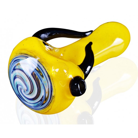 "3"" Zig Zag Head Horn Glass Pipe - Yellow"
