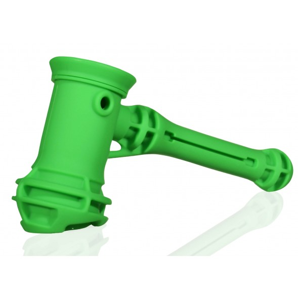 "8"" Silicone Hammer Bubbler Sherlock With Hidden Removable Stash Container And A Glass Bowl"