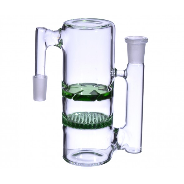 14MM Honeycomb Perc to Turbine Perc Glass Ashcatcher - Green