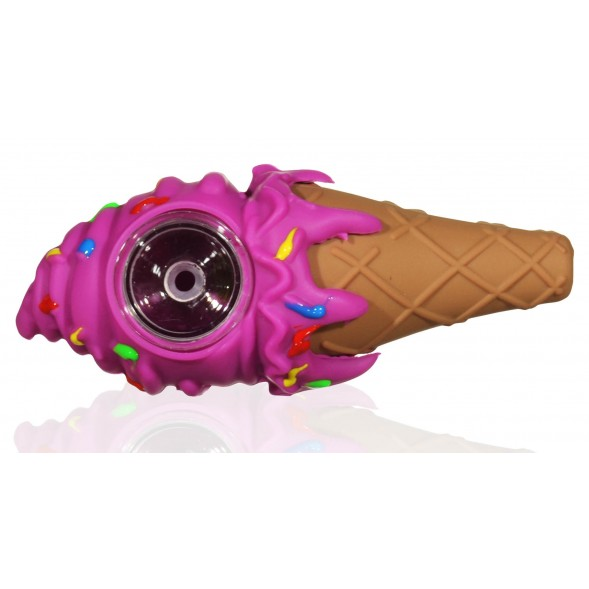 "5"" Silicone Ice Cream Cone With Removable Glass Bowl - Pink Rainbow"