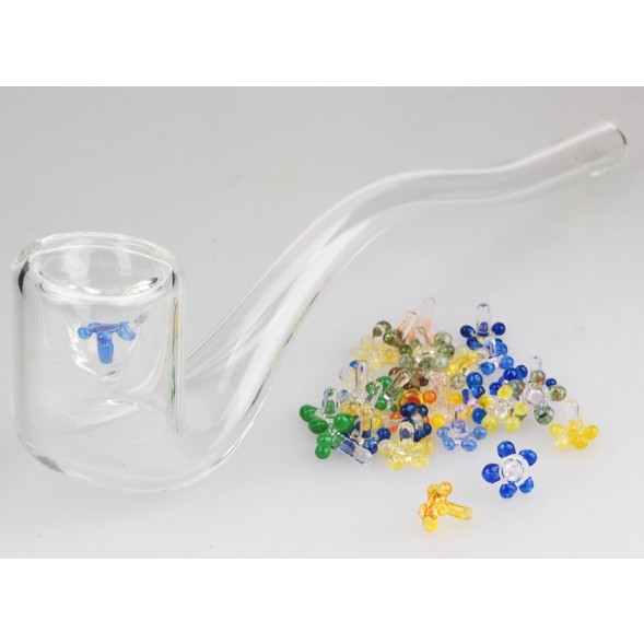 Glass Pipe Screens - Flower Style - Pack of 200