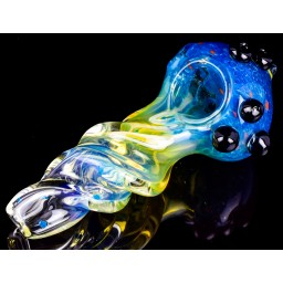 "Smoke King - 6"" Heavily Golden Fumed 24KT Fritted Glass Pipe - Blue"