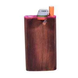 Fancy Wooden Dugout Box With Poker - Dark Brown