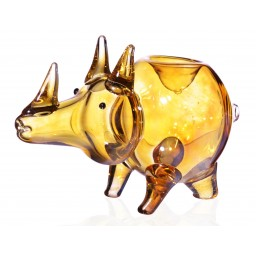 Rhino Animal Glass pipe Golden Fumed