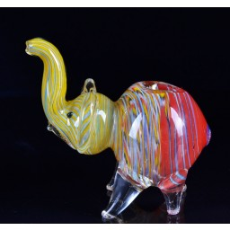 Elephant Animal Glass pipe - Striped Hot Rasta Colors