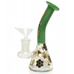 "5"" Holographic Golden Honeycomb Water Pipe - Green"