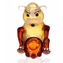 "Smokin' Bear - 3.5"" Translucent Amber and Yellow Bear Hand Pipe"