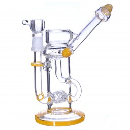 "Stethoscope Recycler - 11"" Stethoscope Recycler and Inline Showerhead Perc Combination - Sun Burst"