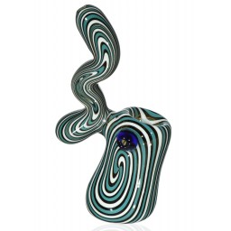 "Smoking Suess Bubbler - 6"" Wig Wag Green and White Sherlock Bubbler"