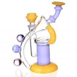 "The Wizard's Flute - 6"" Burnt Yellow Purple Recycler Bong"