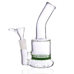 "6"" UFO Base Honeycomb Water Pipe - Tilted Neck - Green"
