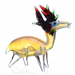 "6"" Fumed Wild Winter Deer - Animal Glass Hand pipe"