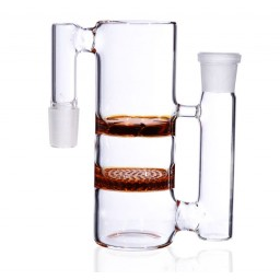 Honeycomb Perc to Turbine Perc Glass Ashcatcher - 19mm - Amber Color