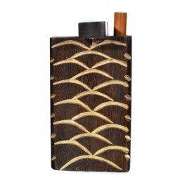 Fancy Wooden Dugout - Includes Cig Pipe - Dark Brown - waves