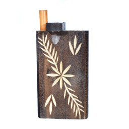 Fancy Wooden Dugout - Includes Cig Pipe - Dark Brown - Flower Locust