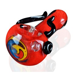 "3"" Zig Zag Head Horn Glass Pipe - Red"